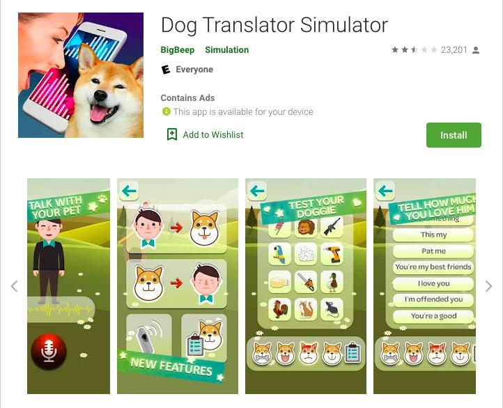 Simulador de traductor de perro con más de 5 millones de descargas